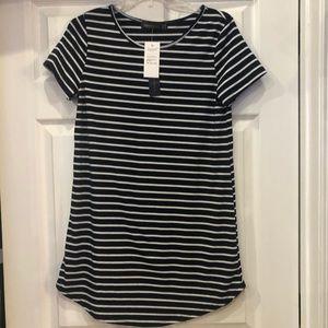New Zanzea white and Blue stripes Long top Size 8
